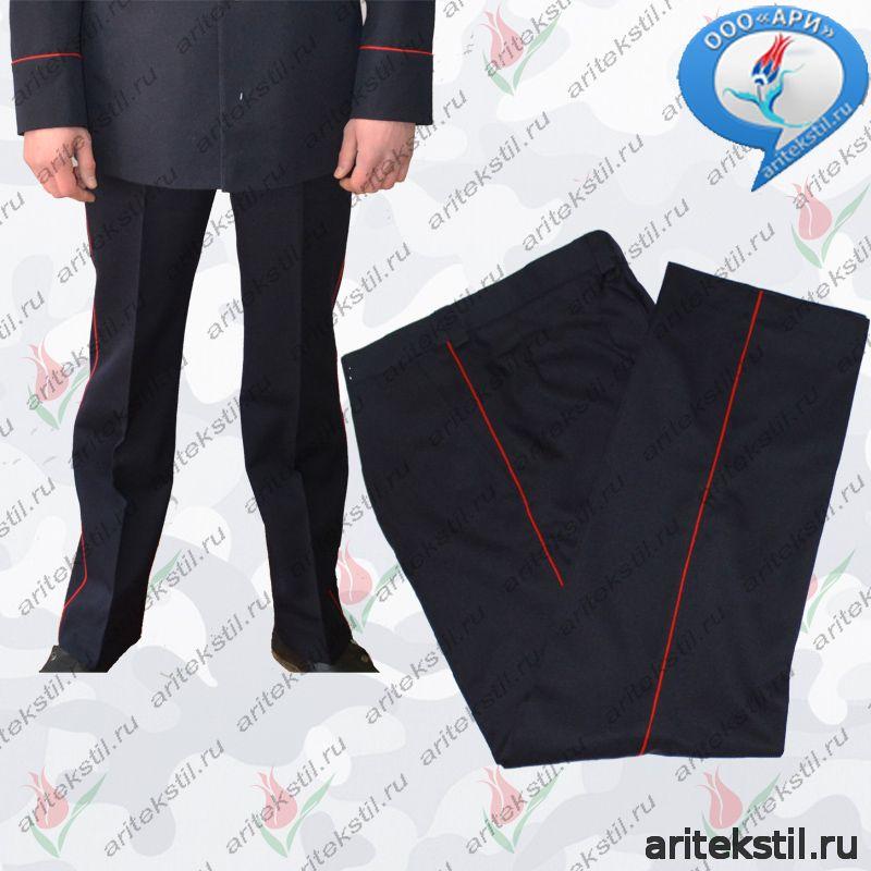 Военная Форма Брюки сотрудников МВД Полиции России мужские ткань п/ш или габардин цвет темный синий с красным кантом
