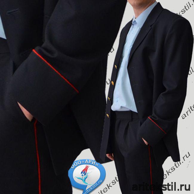 Костюм Парадный Китель и Брюки сотрудников МВД ПОЛИЦИИ России Мужской тк п/ш или габардин цвет Темный синие с красным кантом